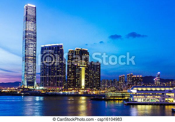 Kowloon skyline in Hong Kong at night - csp16104983