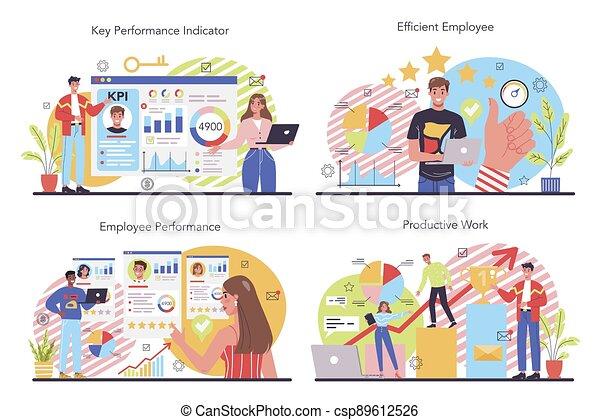 KPI concept set. Key performance indicators. Employee evaluation - csp89612526