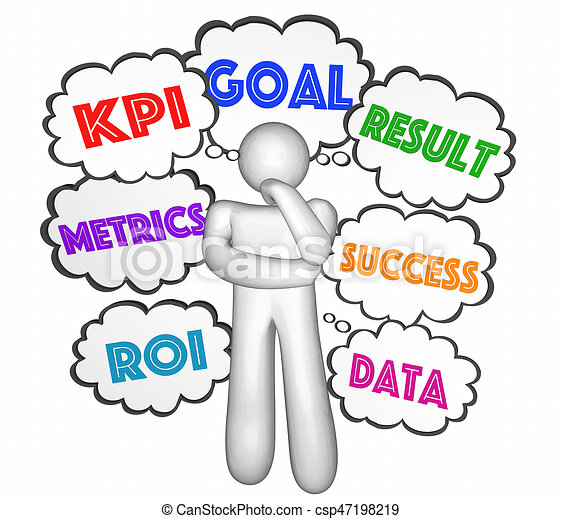 kpi key performance indicator thought clouds thinker goals rh canstockphoto co uk critical thinker clipart thinker image clipart