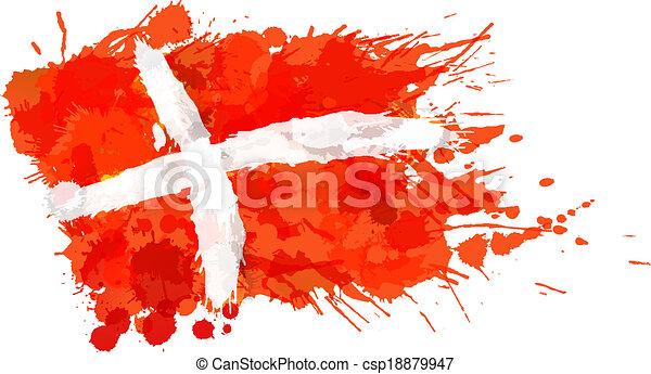 królestwo, robiony, barwny, dania bandera, plamy - csp18879947