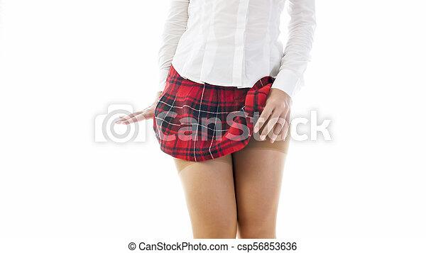 krótki, fotografia, odizolowany, closeup, student, pończochy, sexy, dziewczyna, nylong, poła - csp56853636