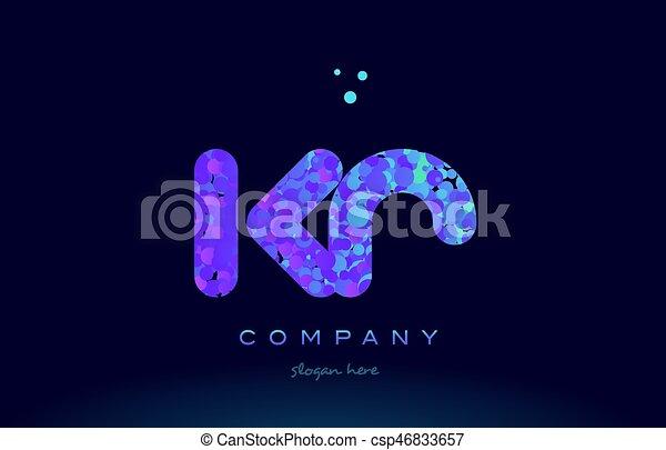kr k r bubble circle dots pink blue alphabet letter logo icon vector