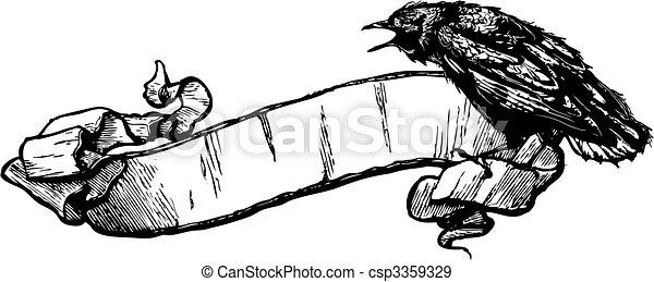 kraai, vector, spandoek, illustratie - csp3359329