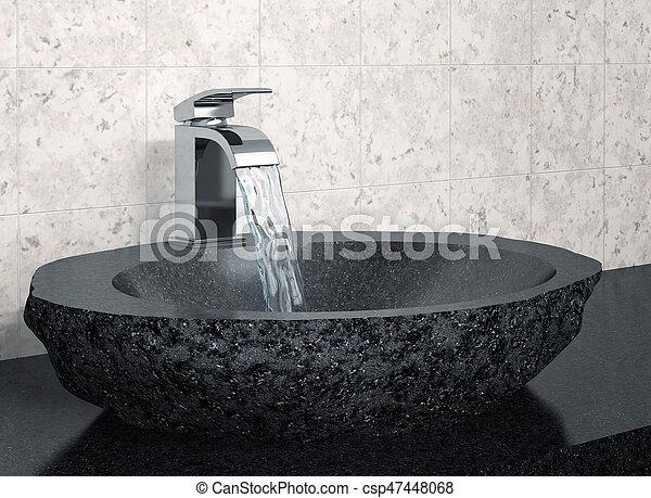 Kraan steen black wastafel. badkamer kraan water vertolking