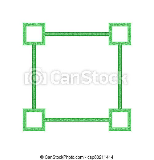krabbelen, illustration., plein, omtrek, vast lichaam, witte , anchors., pictogram, meldingsbord, achtergrond., groene - csp80211414