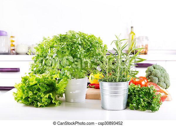 kraeuter, kueche , grün, frisch