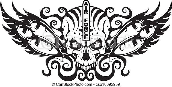 kraft, -, os, luft, militær, design. - csp18692959