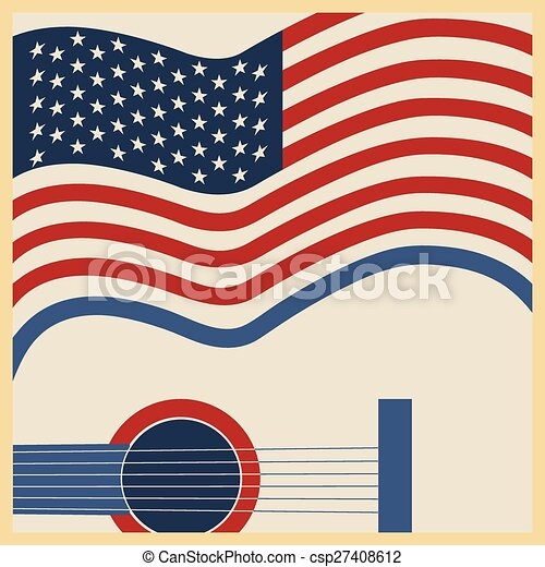kraj, amerykanka, muzyka, afisz - csp27408612