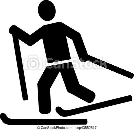 kraj, narciarstwo, krzyż, piktogram - csp43552517