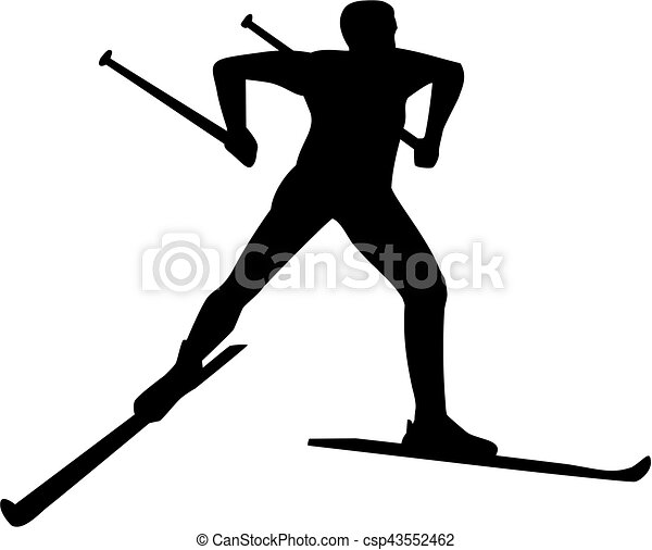 kraj, sylwetka, krzyż, narciarz - csp43552462