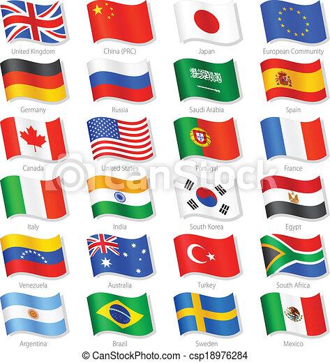 kraje, górny, wektor, bandery, świat, krajowy - csp18976284