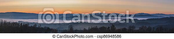 krajina, mlhavý, povstání, západ slunce, hory, čistý, mlha, nebe, mračno - csp86948586