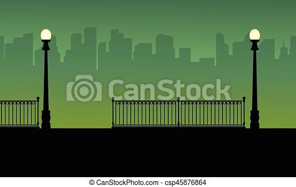 krajobraz, miasto, sylwetka, lampa, ulica, tło - csp45876864