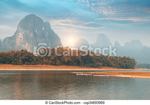 krajobraz, porcelana, guilin, yangshuo - csp34693969