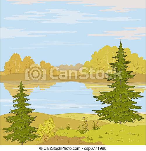 krajobraz., rzeka, las - csp6771998