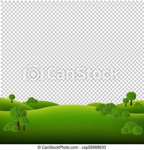 krajobraz, zielony, odizolowany, tło, przeźroczysty - csp58988633