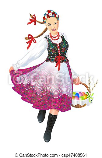 Krakowiak Folk Dancer - csp47408561