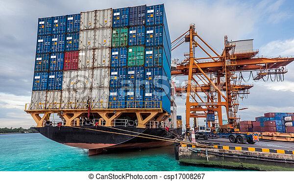 kran, last, arbejder, beholder, fragt, lastning, skib - csp17008267