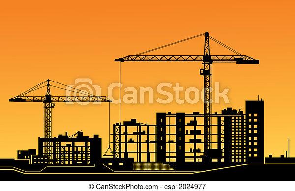 kraner, konstruktion site, arbejder - csp12024977
