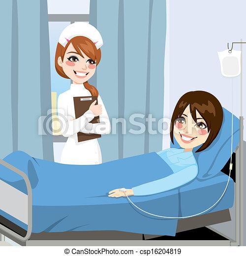 Schwester und Patientin - csp16204819