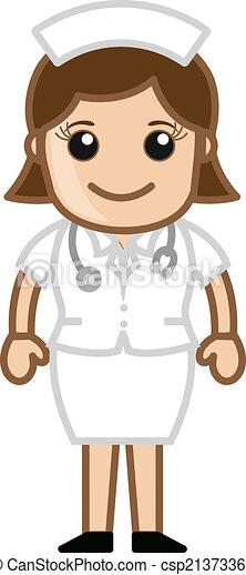 krankenschwester, zeichen, karikatur, glücklich - csp21373362