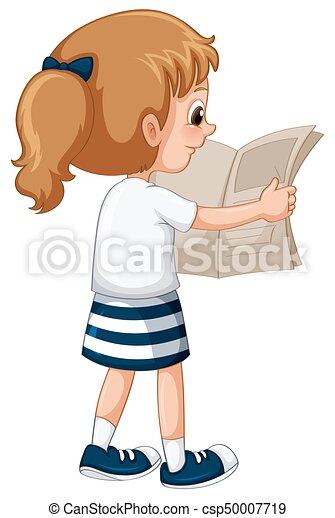 krant, weinig; niet zo(veel), lezende , meisje - csp50007719