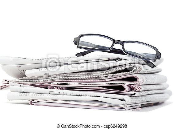 kranten, black , bril - csp6249298