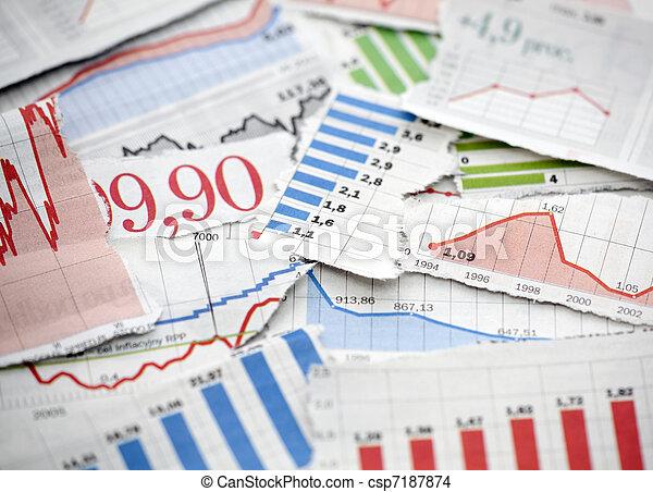 kranten, financieel, diagrammen - csp7187874