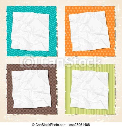 kras, gescheurd, textuur, papier, achtergrond., vector, ouderwetse  - csp25961408