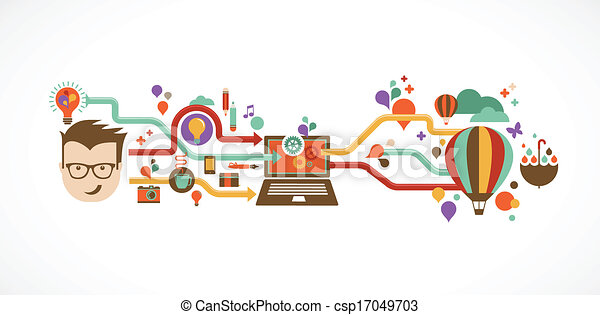 Design, kreativ, Idee und Innovation infographic - csp17049703