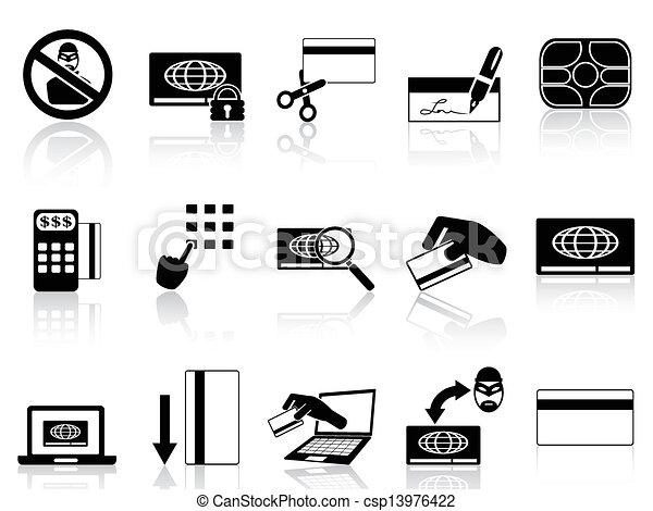 kredyt, pojęcie, komplet, karta, ikony - csp13976422
