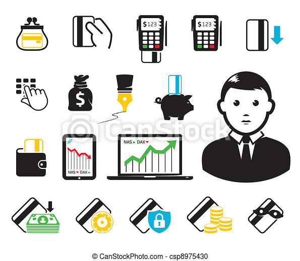 kredyt, pos-terminal, karta, ikony - csp8975430