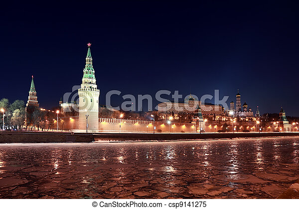 Kremlin near Red Square at winter in Moscow, Russia, rows of lanterns - csp9141275