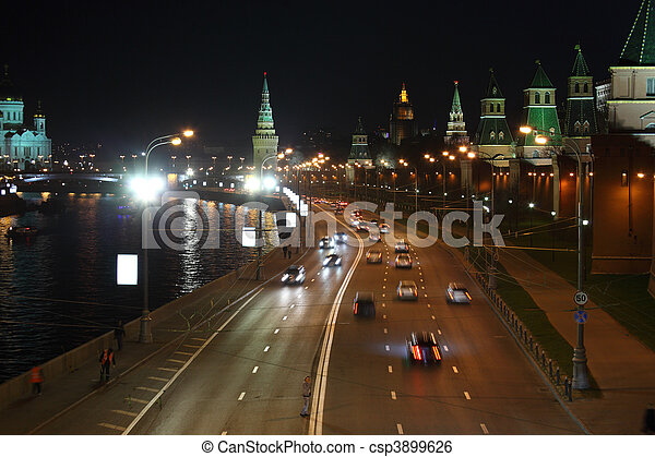 Kremlin quay at night - csp3899626
