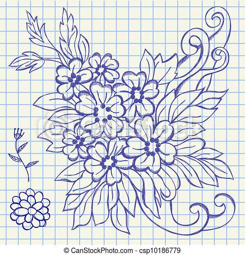Kresleni Kvetiny Zub Ilustrace Rukopis