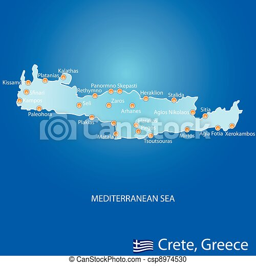 Kreta Kaart Griekenland Eiland Blauwe Kaart Eiland