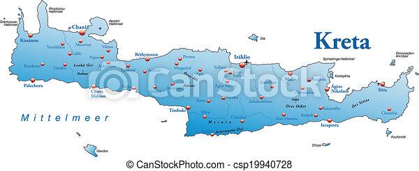 Kreta Landkarte Blaues Landkarte Kreta Uberblick