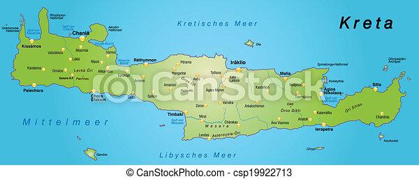 Kreta Mapa Zielony Przebadany