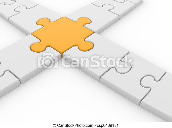 Render, dieser, puzzel, -, abbildung, stücke, kreuzung, 3d Clipart ...