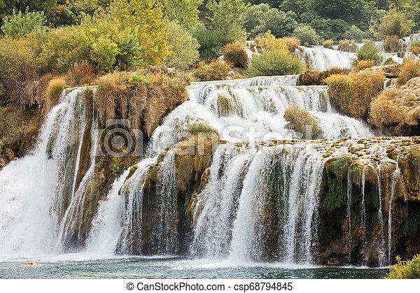 krka, sibenik, national, -, endlos, krka, kroatien, durch, park, grauer star - csp68794845
