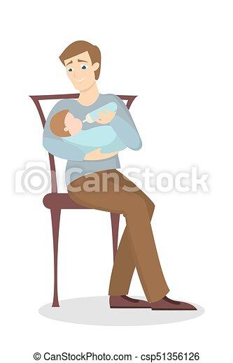 krmení, otec, baby. - csp51356126