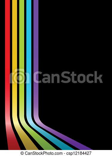 kroget, farverig, abstrakt, striber, space., vektor, sort baggrund, kopi - csp12184427