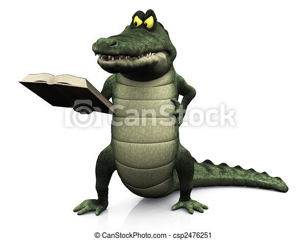 krokodil, boos, lezende , spotprent, book. - csp2476251