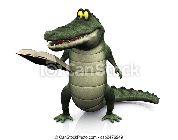 krokodil, lesende , karikatur, book. - csp2476249