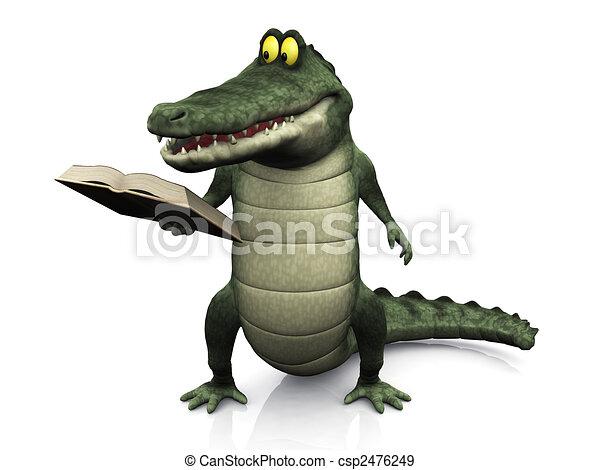 krokodil, lezende , spotprent, book. - csp2476249