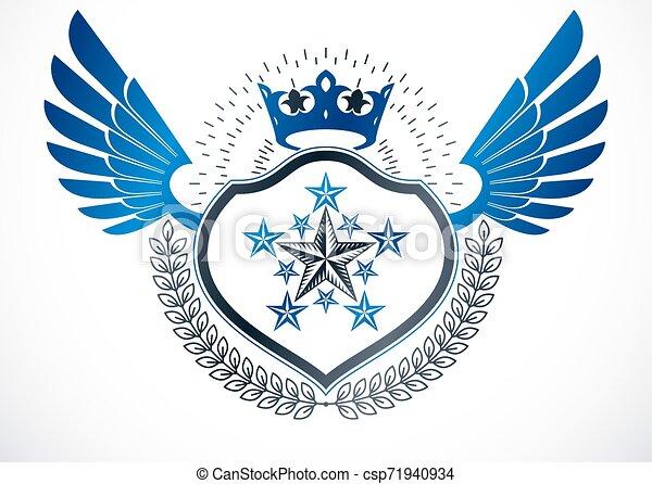 krone, blazon, geschaffen, geflügelt, ritterwappen, kranz, gebrauchend, emblem., fünfeckig, vektor, luxus, sternen, monarch, lorbeer - csp71940934