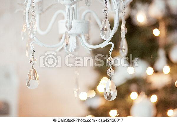 Kronleuchter, gold, weihnachten, elegant, farben, baum ...