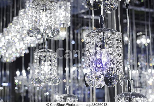 kronleuchter, licht, lampe, modern, kristall