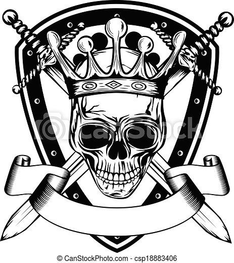 kroon, zwaarden, plank, schedel, gekruiste - csp18883406
