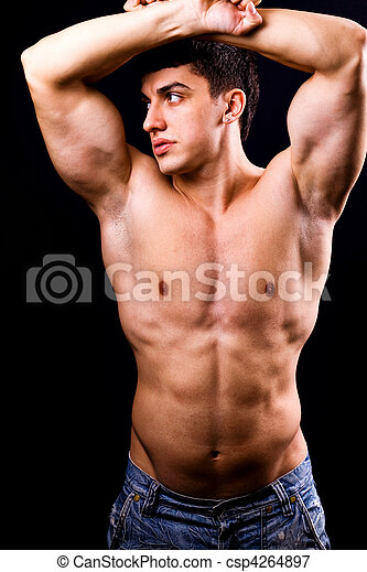 krop, sexet, muskuløse, anfald, mand - csp4264897
